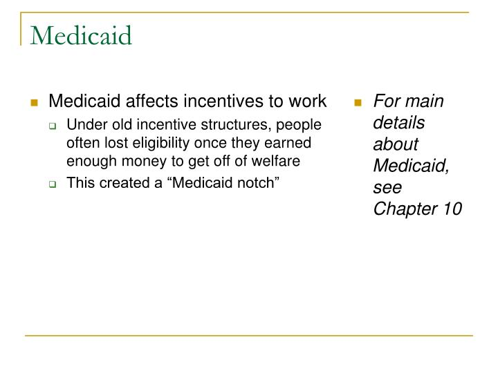 Medicaid affects incentives to work