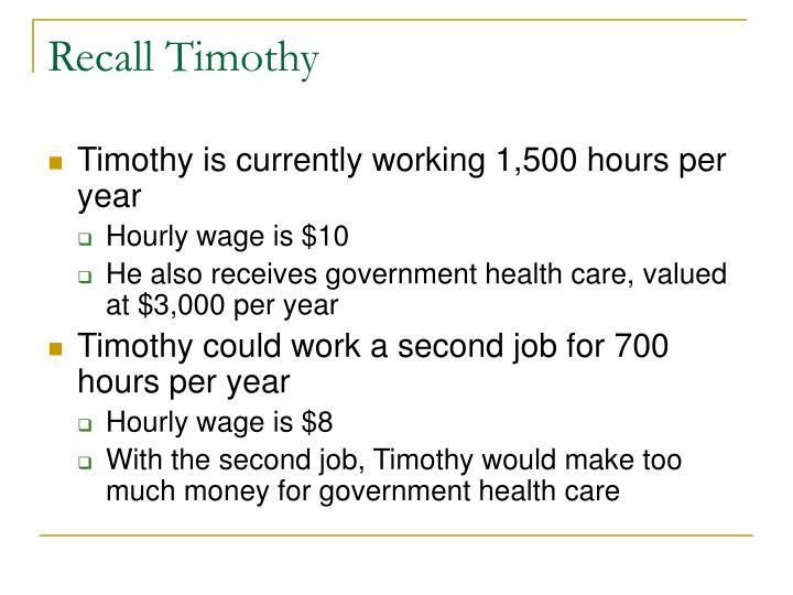 Recall Timothy