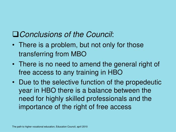 Conclusions of the Council
