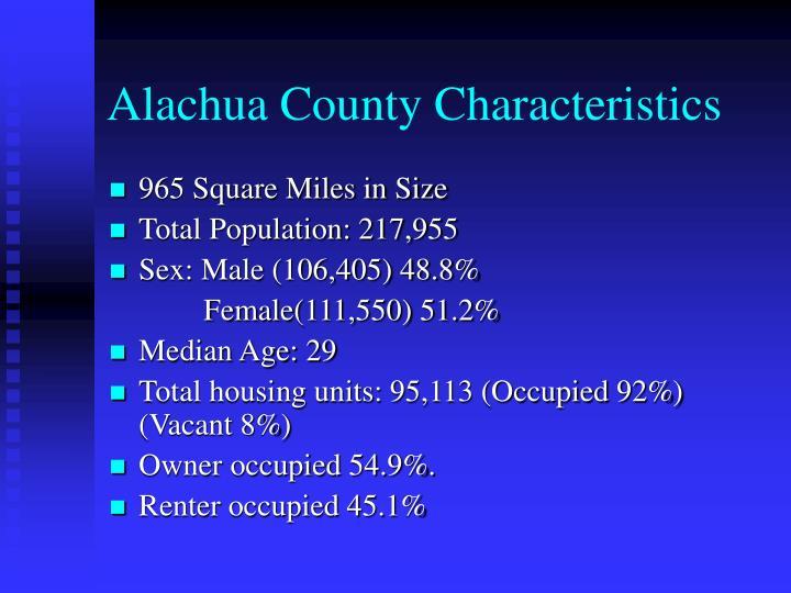 Alachua County Characteristics