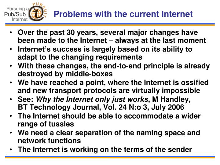 Problems with the current Internet