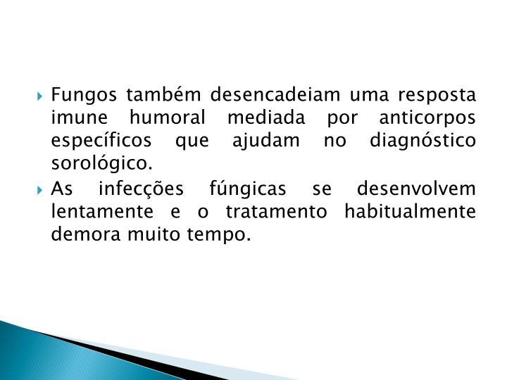 Fungos também desencadeiam uma resposta imune humoral mediada por anticorpos específicos que ajudam no diagnóstico sorológico.