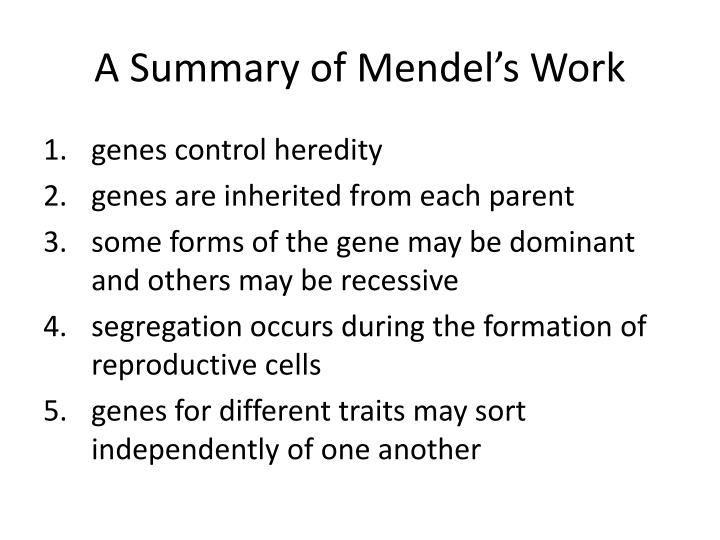 A Summary of Mendel's Work