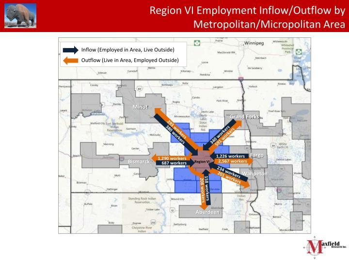 Region VI Employment Inflow/Outflow by Metropolitan/Micropolitan Area
