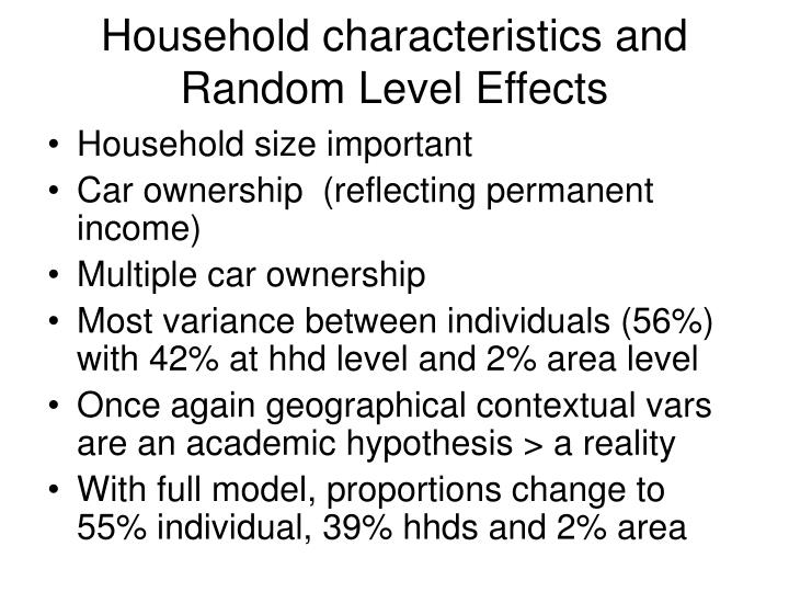 Household characteristics and Random Level Effects