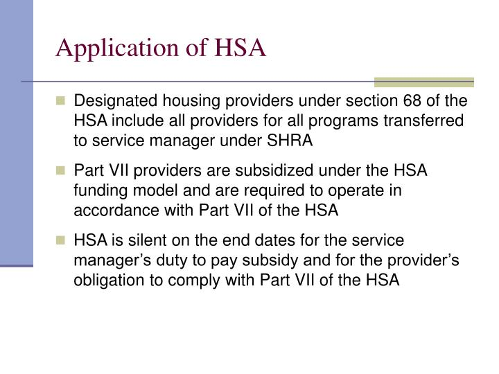 Application of HSA