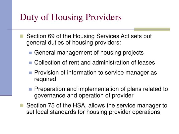 Duty of Housing Providers