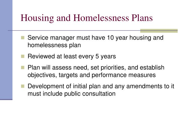Housing and Homelessness Plans