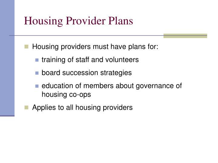 Housing Provider Plans