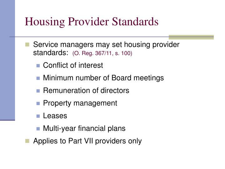 Housing Provider Standards