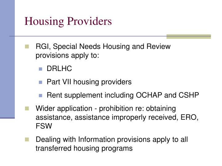Housing Providers