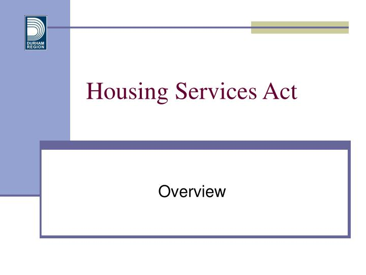 Housing services act