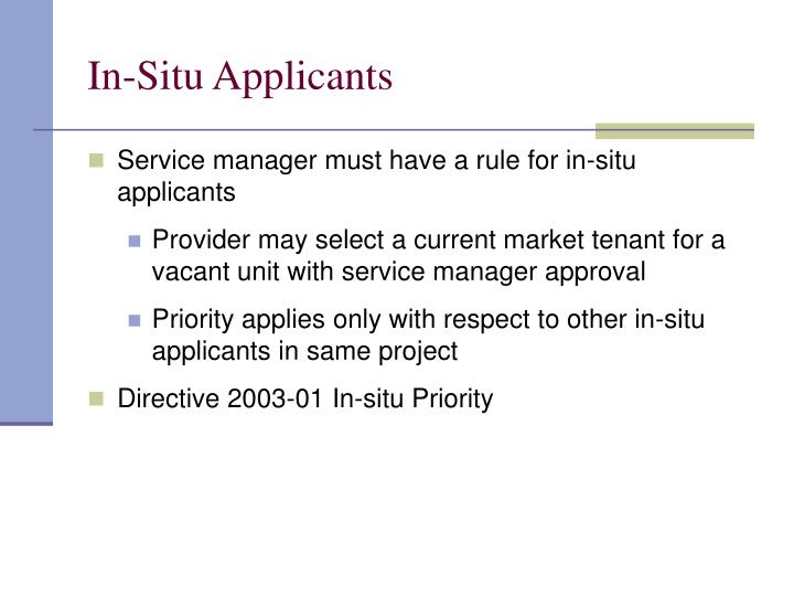 In-Situ Applicants