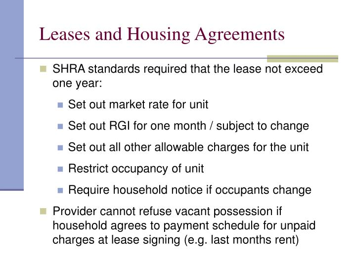 Leases and Housing Agreements