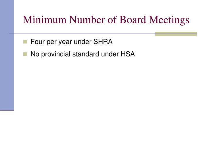 Minimum Number of Board Meetings