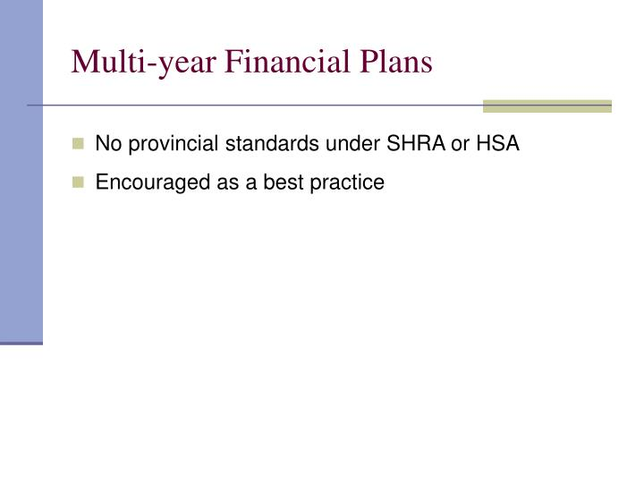 Multi-year Financial Plans