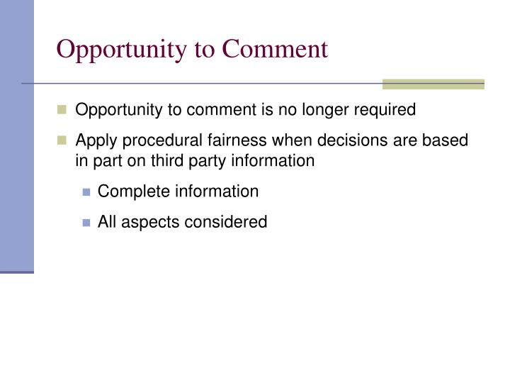 Opportunity to Comment