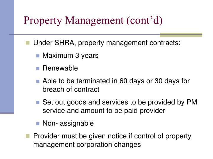 Property Management (cont'd)