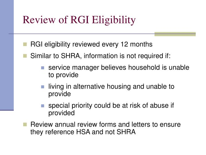Review of RGI Eligibility