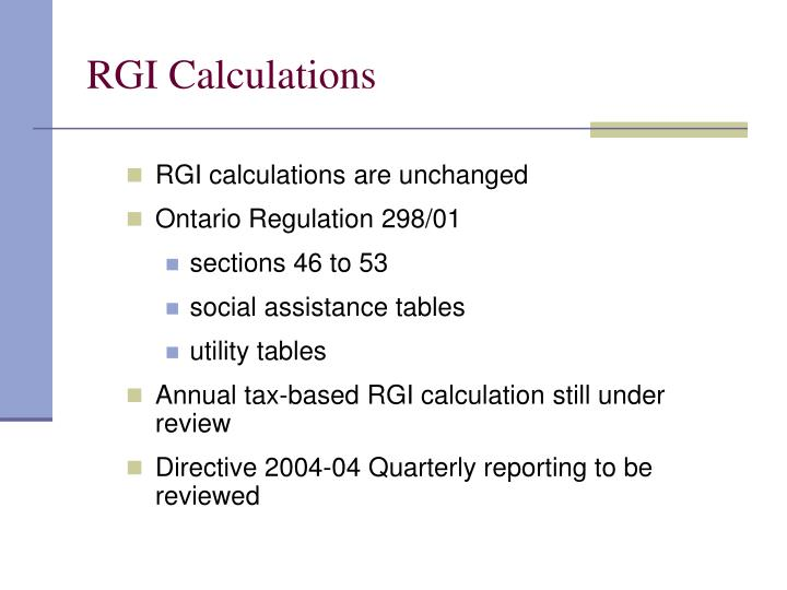 RGI Calculations