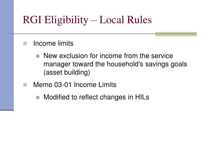 RGI Eligibility – Local Rules