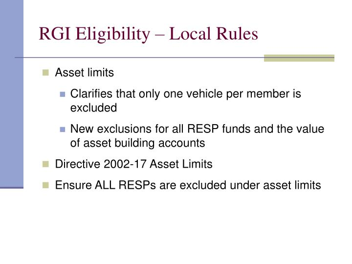 RGI Eligibility – Local Rules