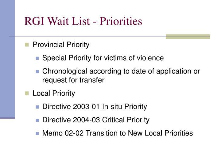 RGI Wait List - Priorities