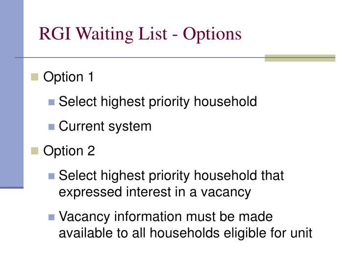 RGI Waiting List - Options