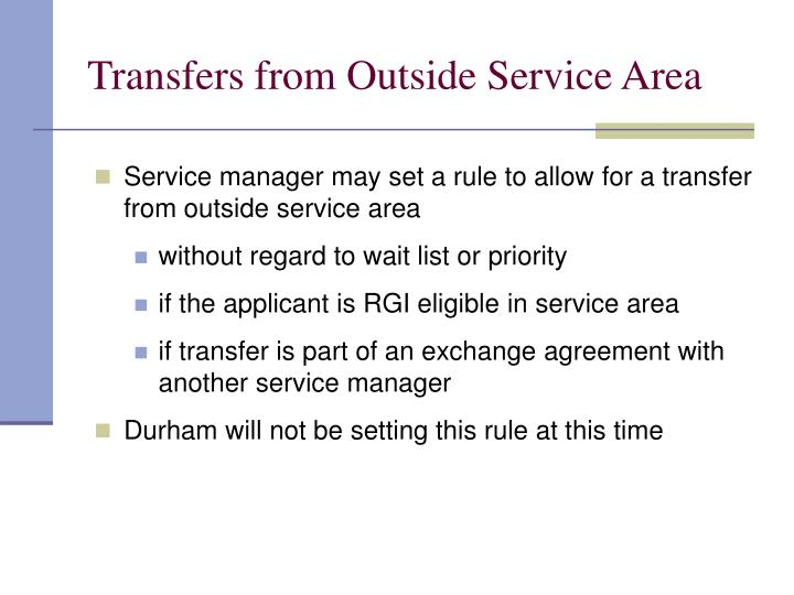 Transfers from Outside Service Area