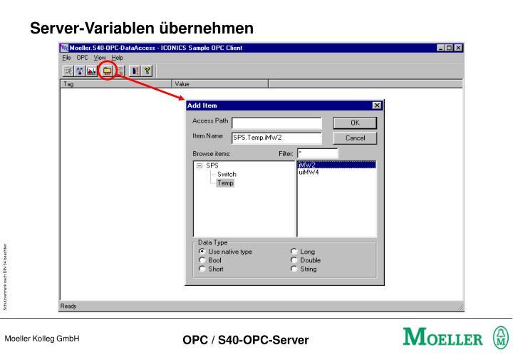 Server-Variablen übernehmen