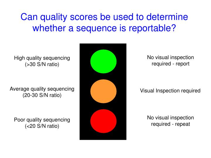 Can quality scores be used to determine whether a sequence is reportable?