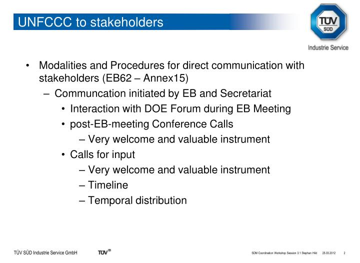 Unfccc to stakeholders