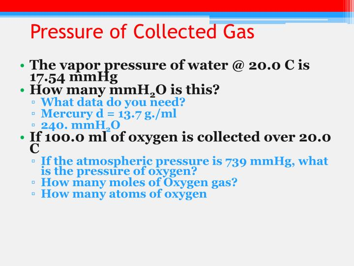 Pressure of Collected Gas