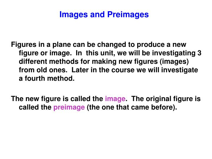 Images and Preimages