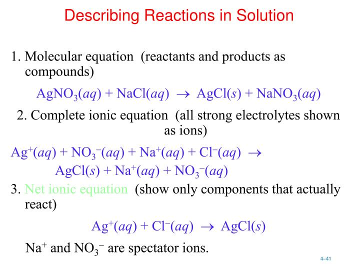 1. Molecular equation