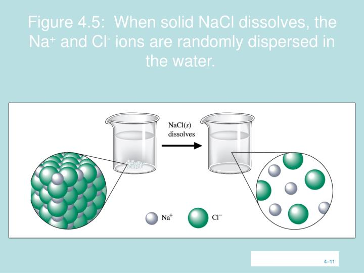Figure 4.5:  When solid NaCl dissolves, the Na