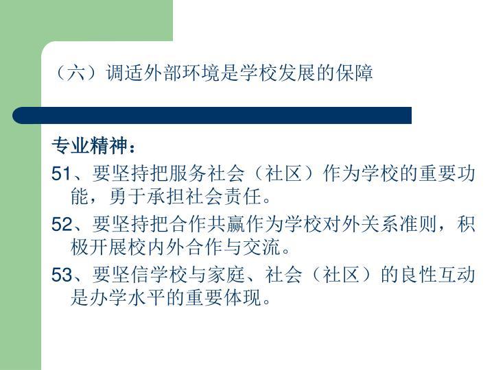 (六)调适外部环境是学校发展的保障