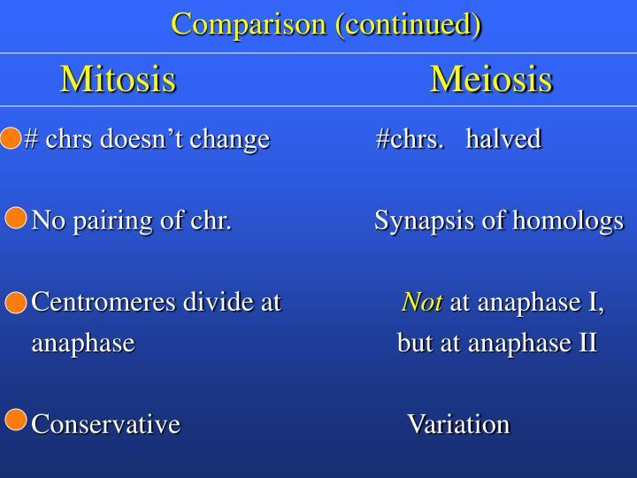 Comparison (continued)