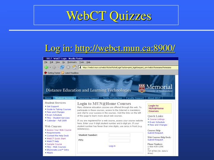 WebCT Quizzes