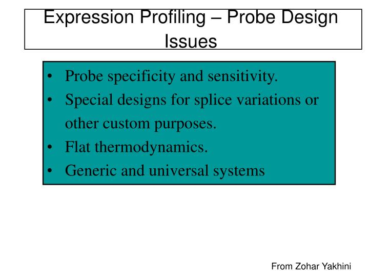 Expression Profiling – Probe Design Issues