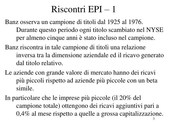 Riscontri EPI – 1