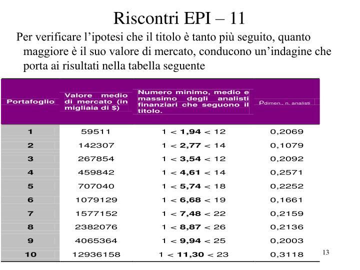 Riscontri EPI – 11