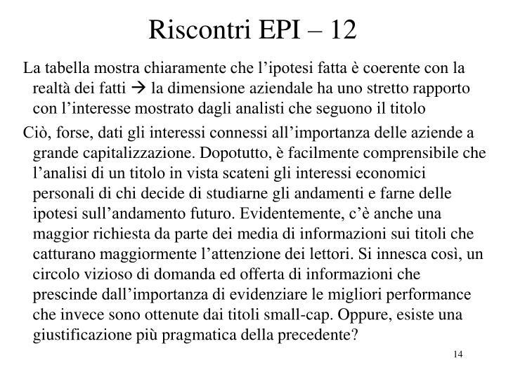 Riscontri EPI – 12
