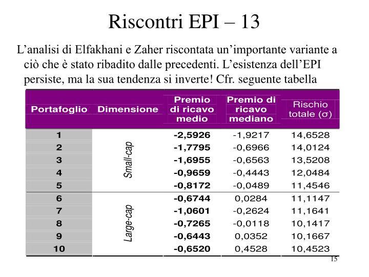 Riscontri EPI – 13
