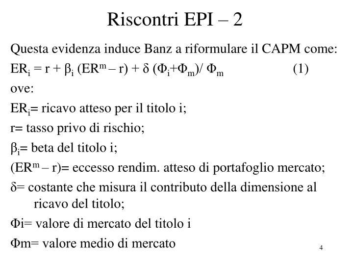 Riscontri EPI – 2