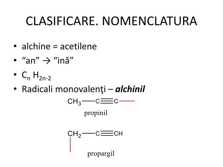 CLASIFICARE. NOMENCLATURA