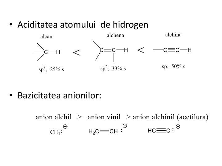 Aciditatea atomului  de hidrogen