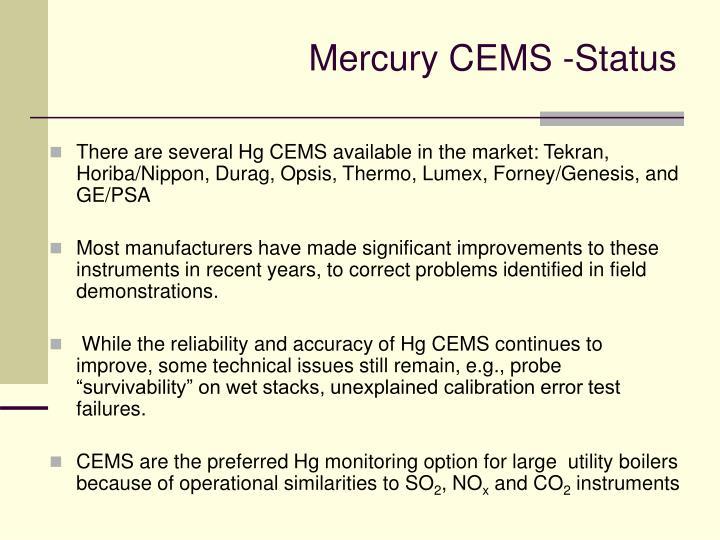 Mercury CEMS -Status