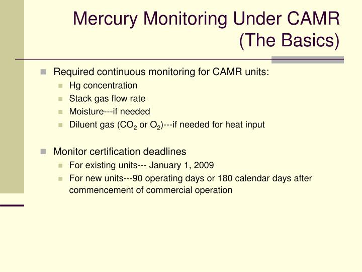 Mercury Monitoring Under CAMR  (The Basics)