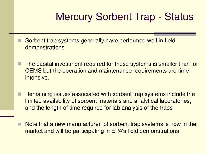 Mercury Sorbent Trap - Status